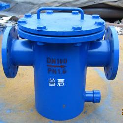 北京直通平底篮式过滤器管径DN100设有排气排水口